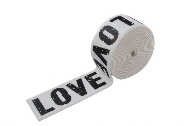 Резинка LOVE 4см белая надпись черная