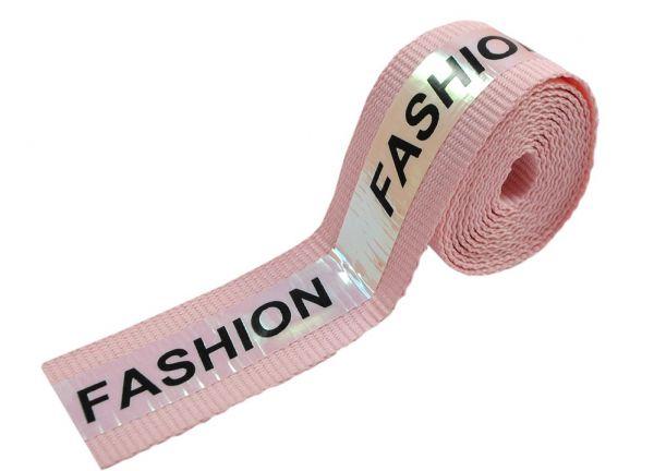 Тесьма тк. голографик Fashion, 2см, розовая