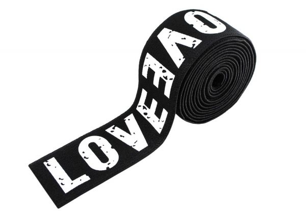 Резинка LOVE 4см черная серебро
