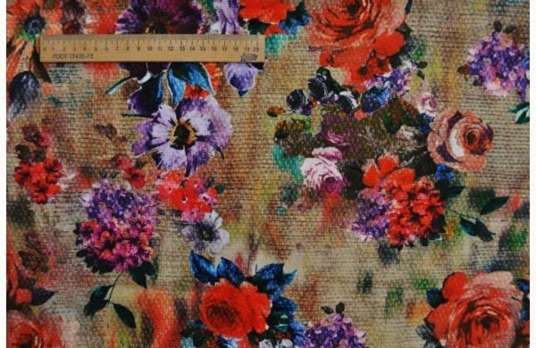 Трикотаж Французский  живописные цветы на холсте