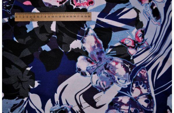 Трикотаж Французский Бабочки абстракция сине -голубые